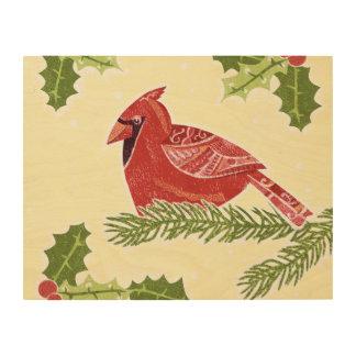 Pájaro cardinal en rama con el navidad Desig del Cuadro De Madera