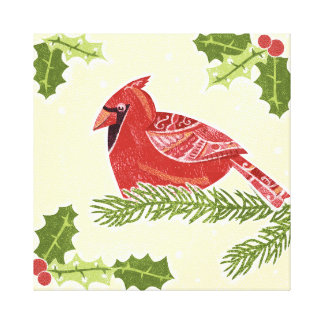 Pájaro cardinal en rama con el navidad Desig del Lona Envuelta Para Galerias