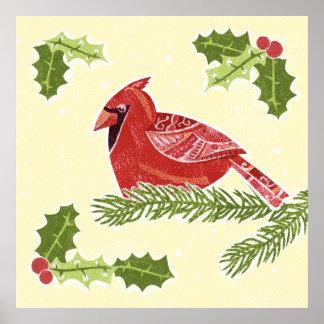 Pájaro cardinal en rama con el navidad Desig del Posters