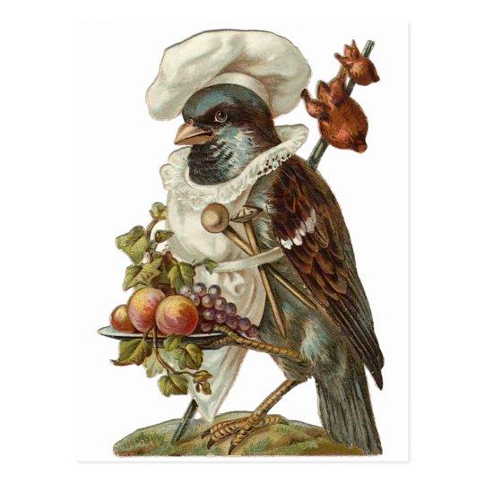 Pájaro con el gorra de la comida y del cocinero postal