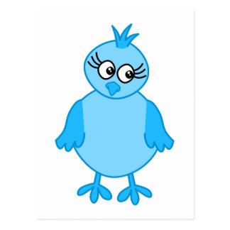 Pájaro de bebé lindo azul postal