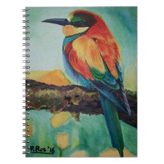 Pájaro de colores libros de apuntes con espiral