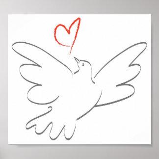 Pájaro de la paz y del corazón poster