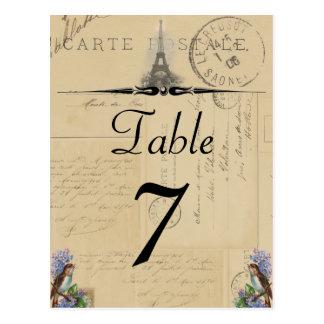 Pájaro de la postal de París en número de la tabla