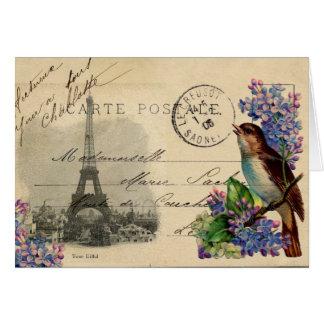 Pájaro de la postal de París en tarjeta de las lil
