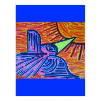 Pájaro de la sol postal