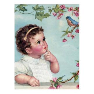 Pájaro de los azules cielos postal