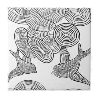 """""""Pájaro de Swirly """" Azulejo Cuadrado Pequeño"""