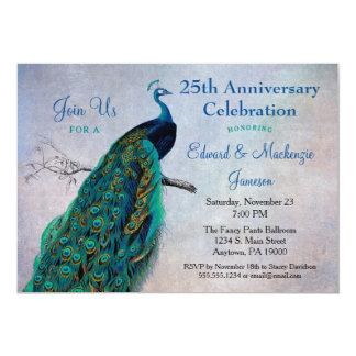 Pájaro del azul del vintage de la invitación del