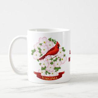 Pájaro del estado de Virginia y flor cardinales Taza De Café
