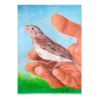 Pájaro del gorrión que gojea invitación 12,7 x 17,8 cm