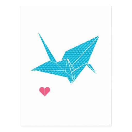 pájaro del origami con el corazón postales