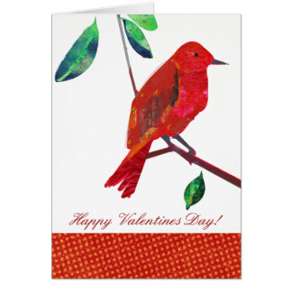 Pájaro del rojo de la tarjeta del día de San