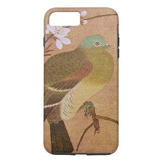 Pájaro del vintage en una rama del melocotón funda iPhone 7 plus
