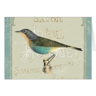 Pájaro del vintage que hace frente a la izquierda tarjeta