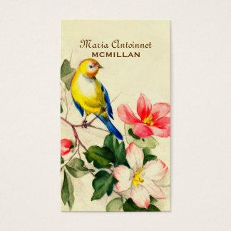 Pájaro elegante y flores del vintage del país tarjeta de visita
