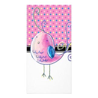 Pájaro en colores pastel rosado - Polk-uno-puntos Tarjetas Con Fotos Personalizadas