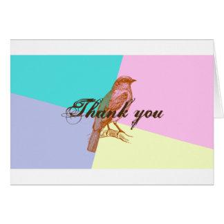 Pájaro en tarjeta del de agradecimiento del color