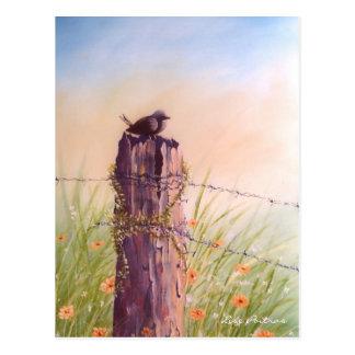 Pájaro en una valla de estacas - postal