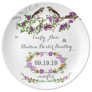 Pájaro púrpura del amor del aniversario de boda de plato de porcelana