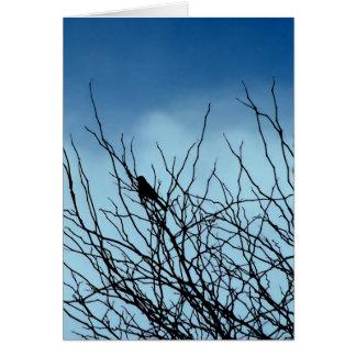 Pájaro que se sienta en la silueta, Santa Cruz Tarjeta De Felicitación