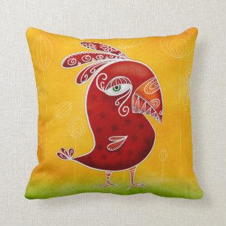 Pájaro rojo cojín decorativo