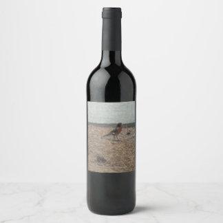 Pájaro rojo del petirrojo en el parque etiqueta para botella de vino