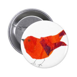 Pájaro rojo lindo chapa redonda 5 cm