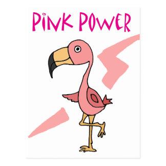 Pájaro rosado inspirado del flamenco del poder postal