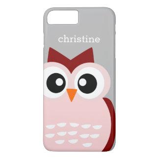 Pájaro rosado lindo del búho en el caso más del funda iPhone 7 plus