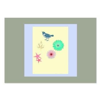 Pájaro simple de la tarjeta de visita - flores -