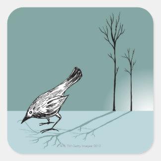 Pájaro temprano pegatina cuadrada
