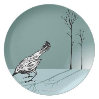 Pájaro temprano plato de cena