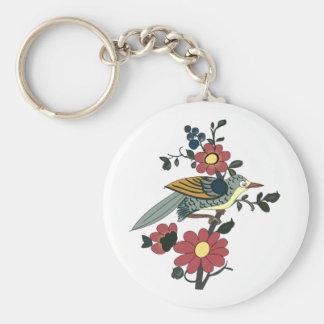 Pájaro y flor chinos llavero redondo tipo chapa