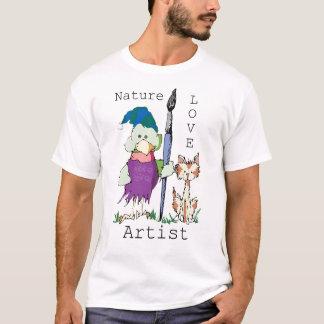 Pájaro y gato artísticos camiseta