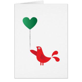 Pájaro y globo populares del corazón tarjeta de felicitación