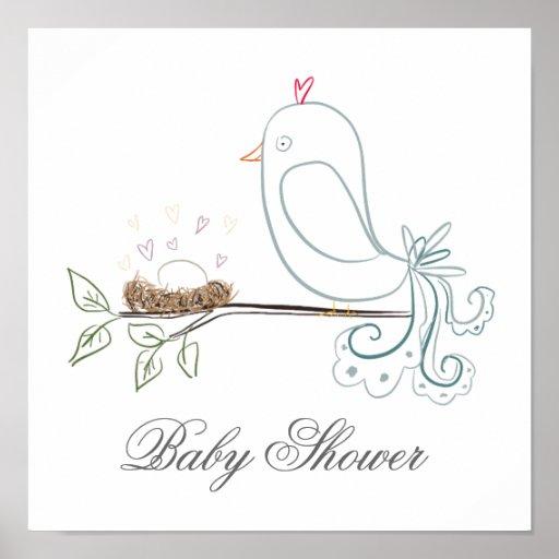 Pájaro y poster de la fiesta de bienvenida al bebé