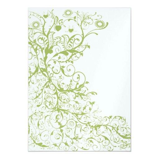 Pájaro y remolinos en el boda del Hydrangea del Invitación 12,7 X 17,8 Cm
