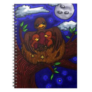 Pájaro y sus bebés libro de apuntes