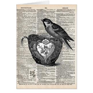 Pájaro y taza de té tarjeta de felicitación