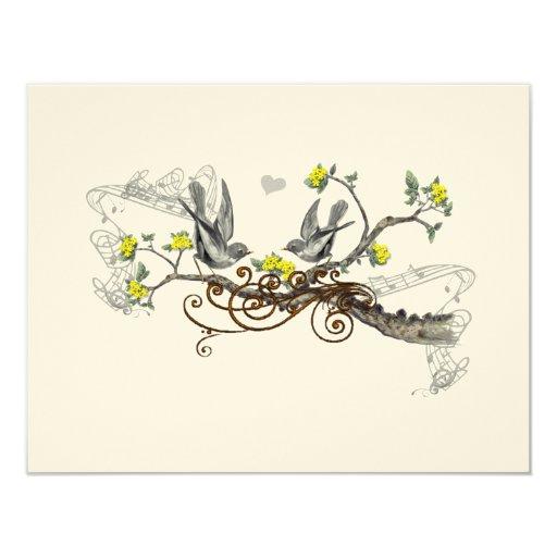 Pájaros amarillos y grises del amor del vintage invitación 10,8 x 13,9 cm
