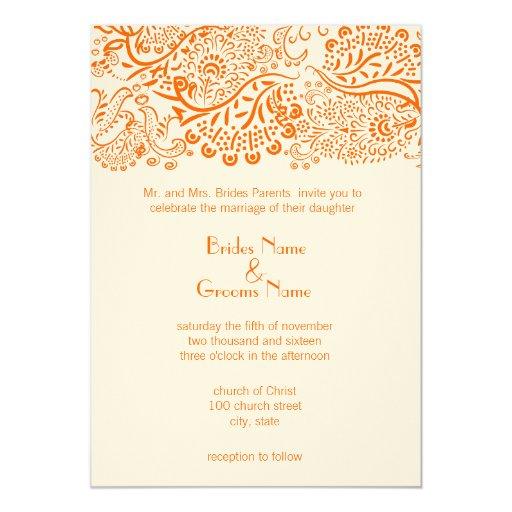 Pájaros anaranjados del amor que casan la invitación 12,7 x 17,8 cm