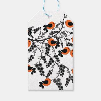 pájaros anaranjados etiquetas para regalos