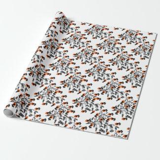 pájaros anaranjados papel de regalo