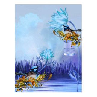 Pájaros azules de la charca de los Bluebirds Postal