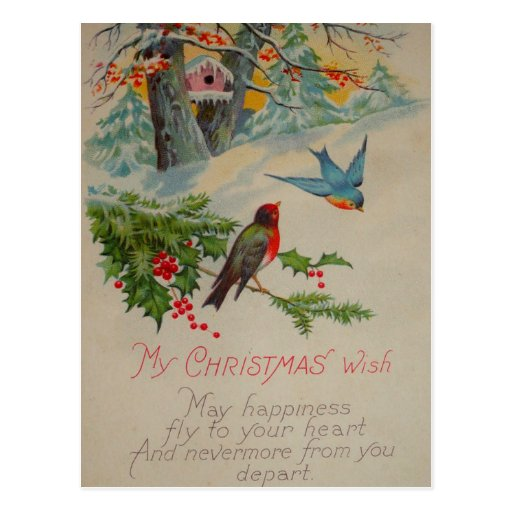 Pájaros azules del vintage y rojos lindos del invi postales