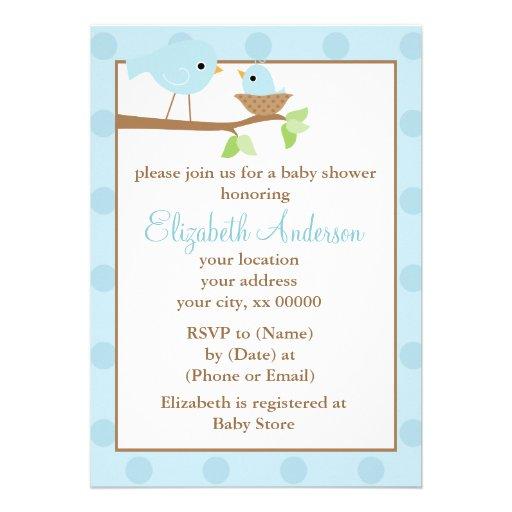 Pájaros azules en una fiesta de bienvenida al bebé invitacion personal