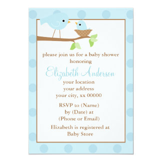 Pájaros azules en una fiesta de bienvenida al bebé invitación 12,7 x 17,8 cm