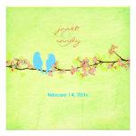Pájaros azules/flores/cal coloridos del grunge anuncios