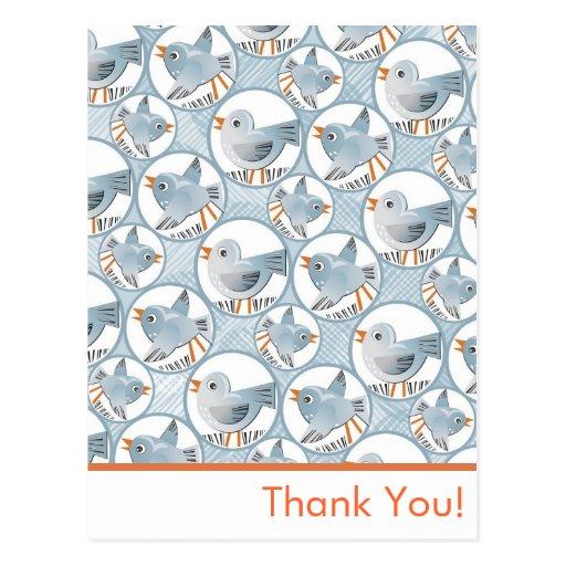 pájaros azules tarjeta postal